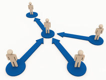 Hierarchy of command chain. Chain of command or hierarchy in an organisation, with 3d figures and arrows showing reporting flow Stock Photos