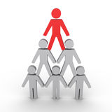 Hierarchy metaphor with human figures. 3d human figures form a pyramid and the leader on top Stock Photo