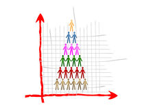 Hierarchy and Teamwork Graph. A vector illustration of a teamwork on a cartesian grid. Business metaphor Stock Image