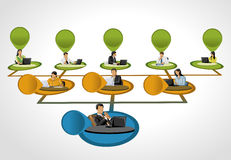 Hierarchy tree. Template for advertising brochure with business people on hierarchy tree Royalty Free Stock Images