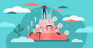 Hierarchy vector illustration. Flat tiny persons social development concept. Organization career structure from professional employee to leaders. Society vector illustration