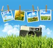 Hierba alta con la viejos cámara y cuadros de la vendimia Fotos de archivo libres de regalías