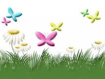 Hierba, camomiles y mariposas Imagenes de archivo