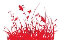 Hierba con los corazones y mariposas Imagen de archivo libre de regalías
