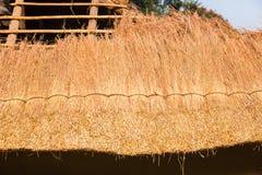 Hierba del tejado que cubre con paja la construcción Foto de archivo