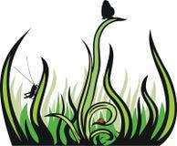 Hierba e insectos decorativos Fotografía de archivo libre de regalías