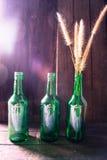 Hierba en botellas de cristal verdes en el fondo de madera Foto de archivo