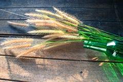 Hierba en botellas de cristal verdes en el fondo de madera Foto de archivo libre de regalías