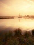 Hierba en el banco del lago de la montaña, isla en centro Mañana púrpura con el nivel del agua pacífico Fotos de archivo