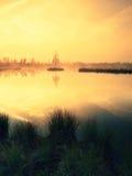 Hierba en el banco del lago de la montaña, isla en centro Mañana púrpura con el nivel del agua pacífico Foto de archivo libre de regalías