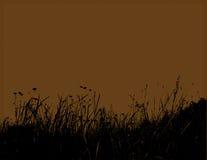 Hierba negra con el fondo marrón. Vector Foto de archivo libre de regalías