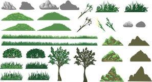 Hierba, árbol y colinas fijados Fotografía de archivo libre de regalías