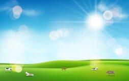 Hierba verde con el sol y el cielo azul efectos luminosos borrosos y vacas para su diseño ilustración del vector