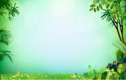 Hierba verde en la palma de la hierba del fondo ilustración del vector
