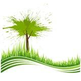 Hierba verde y árbol. Fondo de Eco