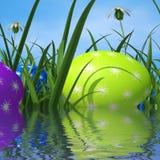 Hierba verde y ambiente de los medios de los huevos de Pascua Imágenes de archivo libres de regalías