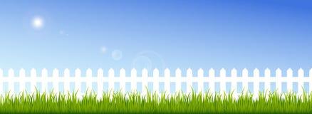Hierba verde y cerca blanca en un cielo azul claro Imagenes de archivo