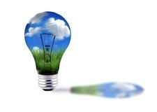 Hierba verde y cielo azul en una estafa de la energía de la bombilla Foto de archivo libre de regalías