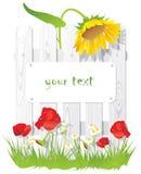 Hierba verde y flores en el fondo de la cerca de madera stock de ilustración