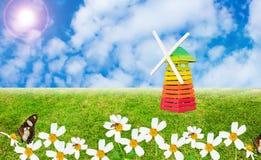 Hierba verde y turbina de viento Foto de archivo libre de regalías
