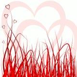 Hierba y corazones Fotografía de archivo libre de regalías