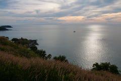 Hierba y puesta del sol en el mar Foto de archivo