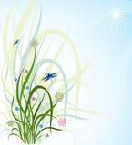 Hierba y una libélula stock de ilustración