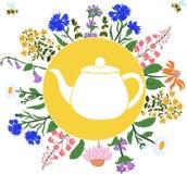 Hierbas alrededor de la tetera en el círculo con las abejas del vuelo libre illustration