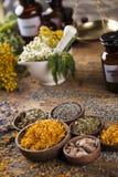 Hierbas, bayas y flores con el mortero, en backgrou de madera de la tabla Fotografía de archivo