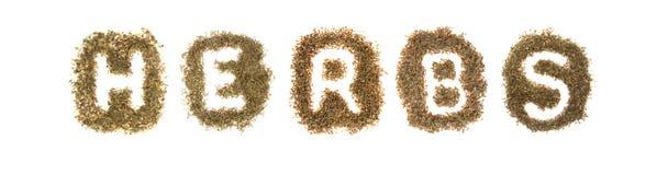 Hierbas clasificadas que deletrean las hierbas de la palabra Foto de archivo