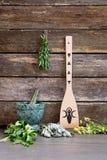 Hierbas frescas naturales con mortor y la maja de mármol verdes, con el wo fotografía de archivo libre de regalías