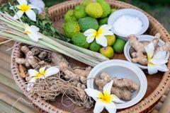 Hierbas locales del jengibre tailandés, galangal, cal del cafre, citronela, colocada en una bandeja de madera, preparada para coc fotos de archivo