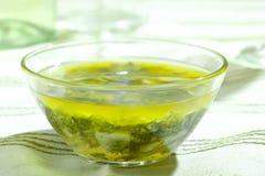 Hierbas mezcladas en aceite de oliva Fotografía de archivo libre de regalías