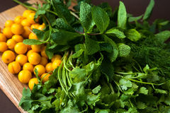 Hierbas para cocinar tkemali de la salsa Imagen de archivo libre de regalías
