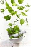 Hierbas verdes que caen en el mortero y la maja Foto de archivo