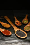 Hierbas y cucharas de madera de las especias Foto de archivo libre de regalías