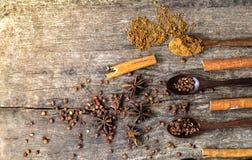 Hierbas y especias en un tablero de madera Cuchara de la especia Imagen de archivo libre de regalías