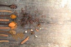 Hierbas y especias en un tablero de madera Cuchara de la especia Imágenes de archivo libres de regalías