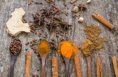 Hierbas y especias en un tablero de madera Cuchara de la especia Imagen de archivo