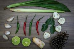 Hierbas y especias frescas en fondo de madera, ingredientes de la comida picante tailandesa, ingredientes de Tom yum Imagen de archivo