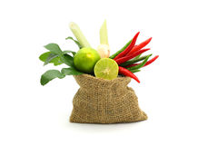 Hierbas y especias frescas en un saco en el fondo blanco, ingredientes de la comida picante tailandesa, ingredientes de Tom yum Fotografía de archivo libre de regalías