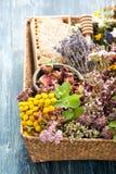 Hierbas y flores secadas y frescas en cesta y panal Fotos de archivo