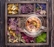 Hierbas y flores y infusión de hierbas secadas imagenes de archivo