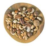 Hierboven geïsoleerde noten stock afbeeldingen
