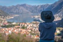 Hierboven het bekijken de Kotor-baai van royalty-vrije stock foto's