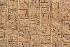 Hieroghlyphs no templo de Karnak fotografia de stock royalty free