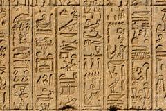Hieroglificzni cyzelowania w antycznej egipskiej świątyni Fotografia Stock