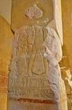 Hieroglips en la pared en templo del pharaoh Fotos de archivo