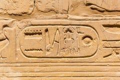 Hieroglyfiskt av faraocivilisation i Karnak Arkivfoto