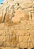 Hieroglyph background. Hieroglyph wall of Karnak temple complex, Luxor, Egypt stock photo